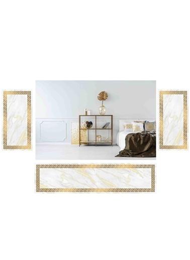Soley Lateks Sungerli Yatak Odası Halı Seti Beyaz